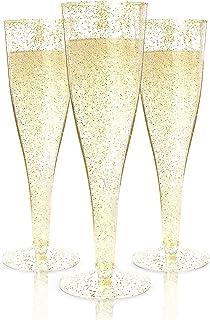 100 Plastic Champagne Flutes Disposable | Gold Glitter Plastic Champagne Glasses for..