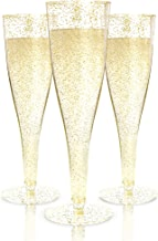Plastic Champagne Flutes Disposable - 100 Pack | Gold Glitter Plastic Champagne Glasses for Parties | Glitter Clear Plastic Cups | Plastic Toasting Glasses | Mimosa Glasses | Wedding Party Bulk Pack