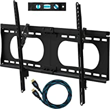 """Cheetah Mounts APTMMB TV Wall Mount Bracket for 20-90"""" TVs up to VESA 730 and 165lbs, Fits 16"""" And 24"""" Wall Studs and includes a 10' Twisted Veins HDMI Cable and a 6"""" 3-Axis Magnetic Bubble Level"""