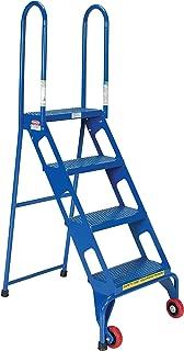 Vestil FLAD-4 Folding 4 Steps Ladder with Wheels, Carbon Steel, 350 lbs Capacity, 39-7/8
