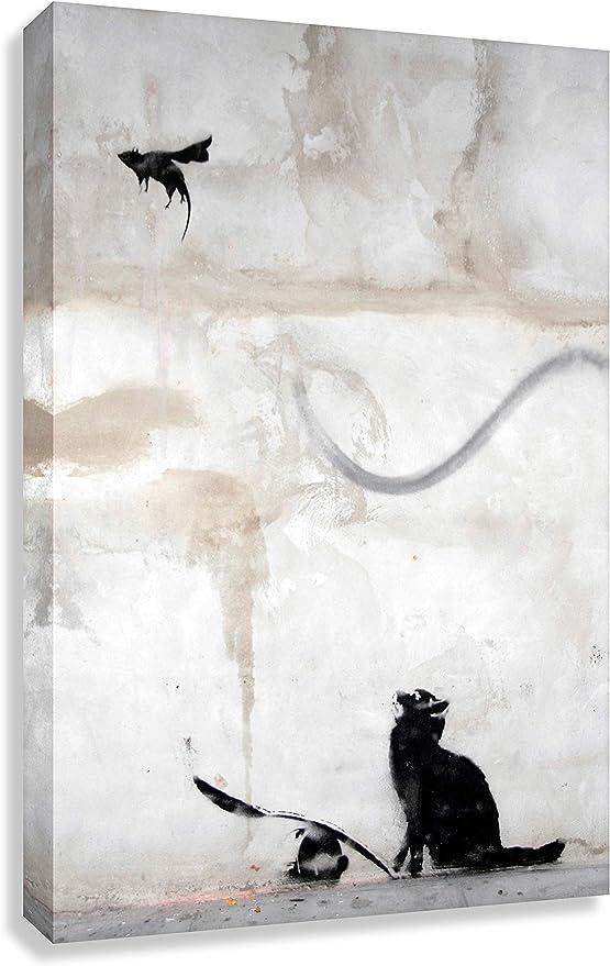 Banksy - Quadro da parete a forma di gatto con graffiti, 40 x 30 cm, pronto  da appendere, 30 x 40 cm: Amazon.it: Casa e cucina