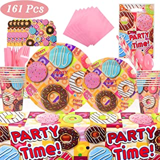 Donut Birthday Party Supplies , 16 Serves Flatware Kit Including, Spoons, Forks, Knives, Plates, Cups, Straws, Napkins , Gift Bags, Invitations, Party Decorations Favors Pack Set for Kids Girls