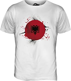 //Azzurro//Girocollo T-Shirt//Albania//Albanese Bandiera Splat Stuff4/® Ragazze//et/à 3-4 98-104cm