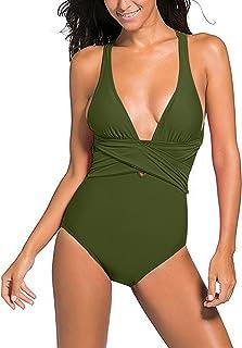 ZITY Women Deep V Neck One Piece Swimsuit Solid Backless Cross Padding Swimwear