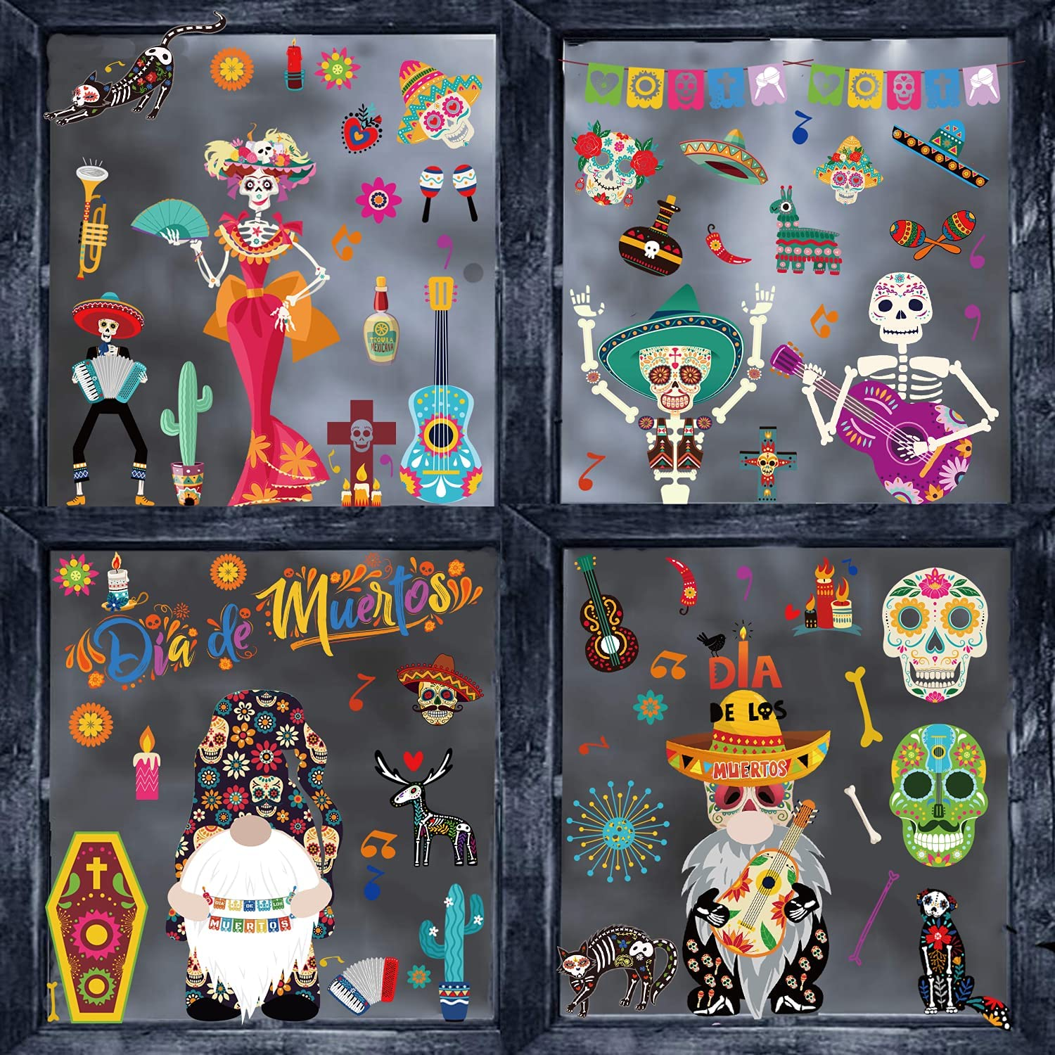 Halloween Window Clings,141 PCS Day of The Dead Window Decorations Stickers Decals Sugar Skull Skeleton Window Decals for Halloween Dia de Los Muertos Party Supplies Decorations
