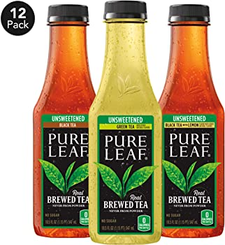 Pure Leaf Iced Tea 0 Calories Unsweetened Variety Pack,18.5 fl oz.(12 Pack)