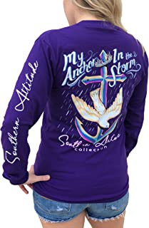 Sponsored Ad - Southern Attitude My Anchor in The Storm Cross Anchor Purple Women`s Long Sleeve Shirt