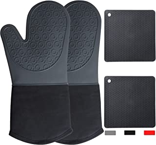 Long Dutch Oven Mitts and Pot Holders Heat Resistant 500°F/260°C Non Slip Food Grade Cooking Gloves for Camping Grill