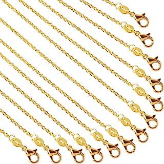عقد سلاسل مطلي بالذهب سلسلة كبيرة، لصناعة المجوهرات، 18 انش، من 50 قطعة