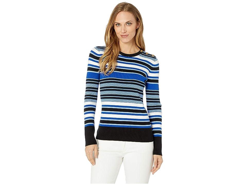 LAUREN Ralph Lauren Striped Cotton-Blend Sweater (Blue Ocean Multi) Women