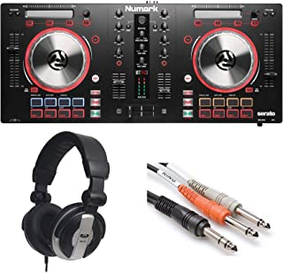 Numark Mixtrack Pro 3 | USB DJ Controller with Trigger Pads & Serato DJ Lite Download (Includes Built-In Sound Card) + Headphones + 1/4 inch TRS to Dual 1/4 inch TS Insert Cable,- Top Value Bundle