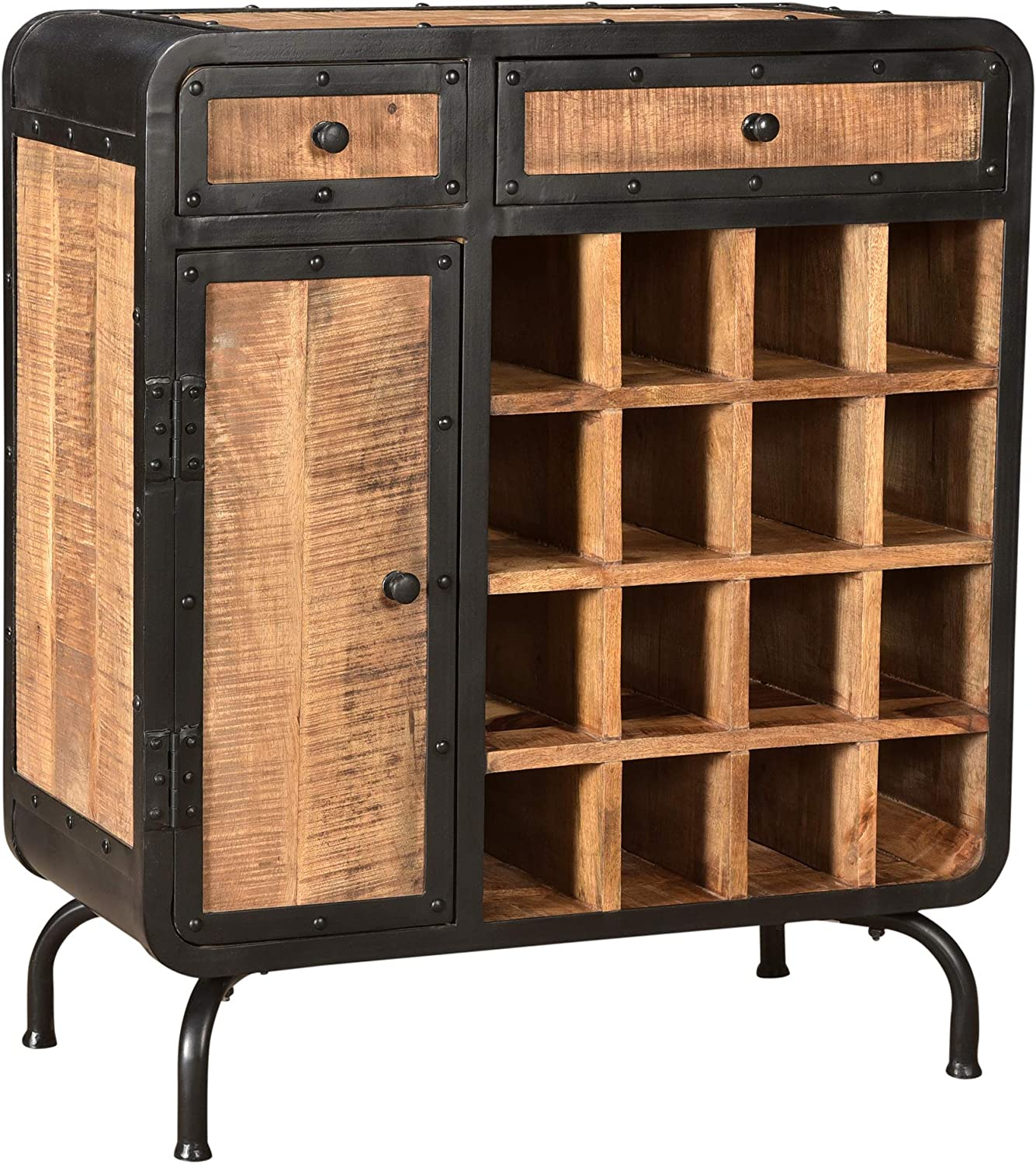 Spring Modern Courier shipping free Industrial Mango Many popular brands Wood Natural Finish Rack an Wine