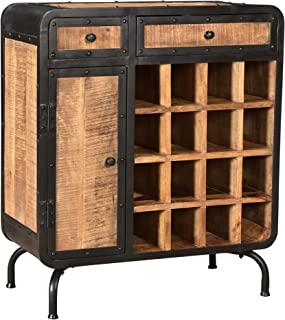 Spring Modern Industrial Mango Wood Wine Rack, Natural Finish and Black