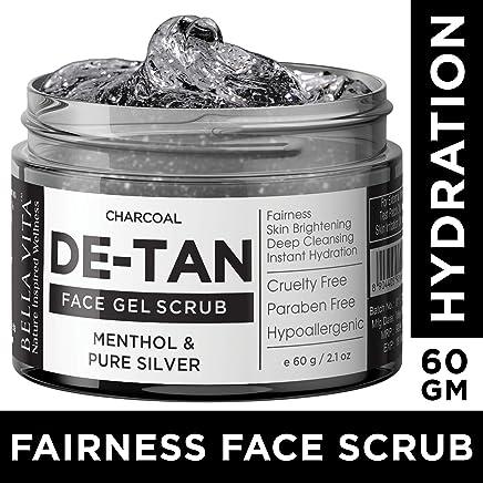 Bella Vita Organic Charcoal De Tan Removal Scrub For Brightening & Fairness For Men & Women With Pure Silver & Menthol, 60 g