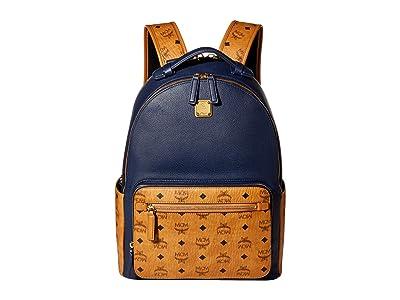 MCM 40 Stark Visetos Leather Mix Backpack (Dark Sapphire) Backpack Bags