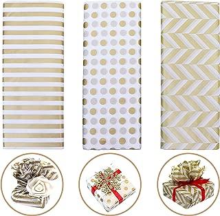 Papel de Envolver Regalos - Pack de 3 Diseños Diferentes Metálico Dorado Papel Tisú para Manualidades 60 Hojas 71,12cm de Largo x 50,8cm de Ancho - papel regalo navidad, Fiesta, Cumpleaños