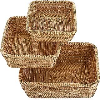 SUMTree 3pcs panier de service corbeille à fruits Panier d'osier rangement pour cookies, pain ,fruits (carré)