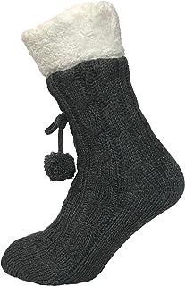 Pantuflas de punto para mujer con forro polar cálido y antideslizante