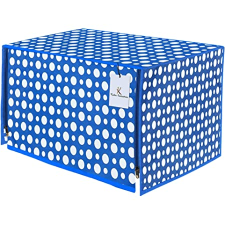 Kuber Industries Polka Dots Design PVC Microwave Oven Full Closure Cover for 20 Litre (Blue) CTKTC33223