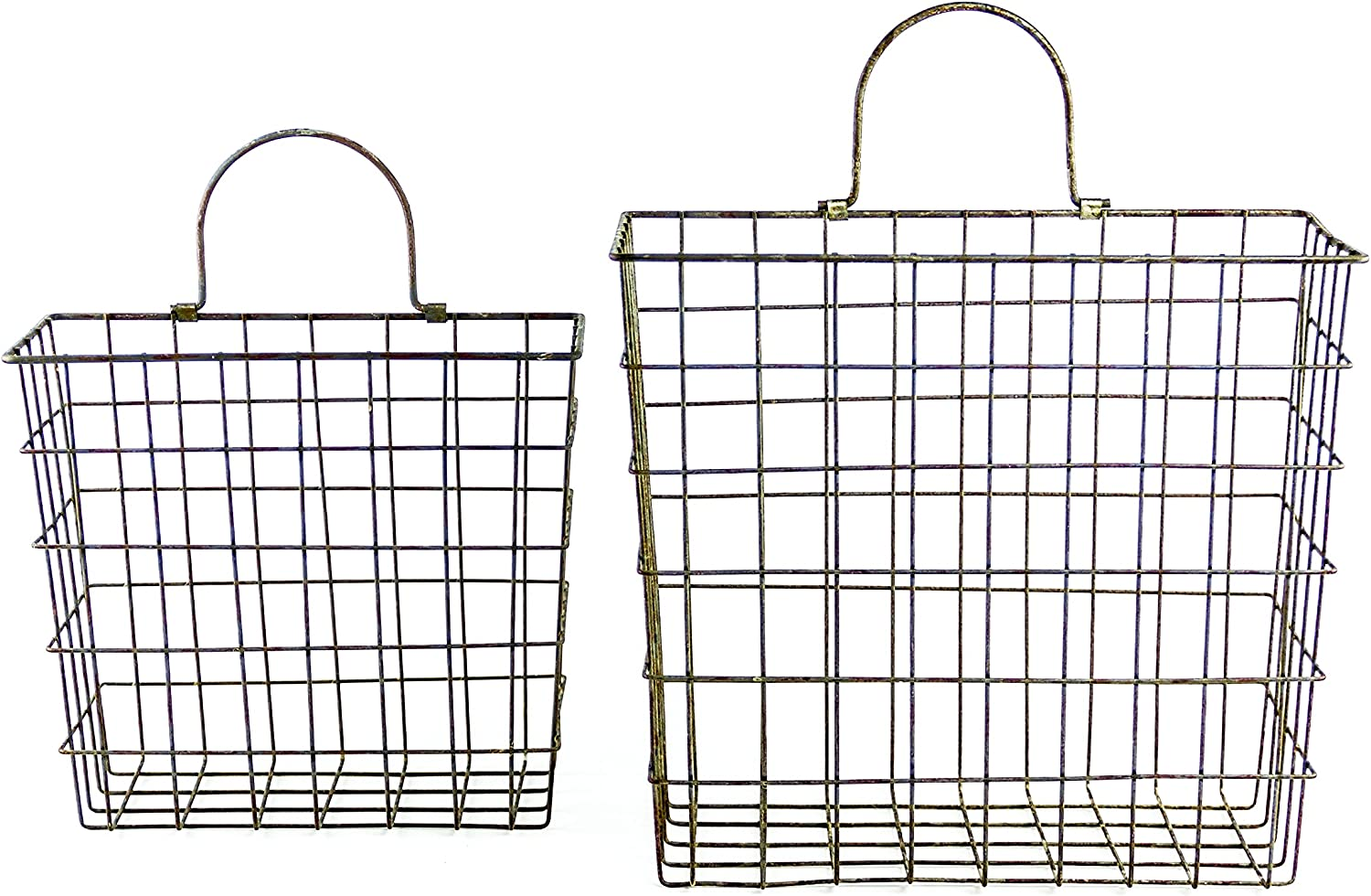 Tall Metal Wire Country Style Baskets With Handle, Set of 2