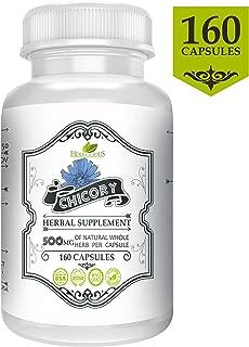 Chicory Capsules 500 mg (160 Pills)   Probiotic Inulin   Gut Health   Organic Chicory Dried Root   Herbal Supplement (Cichorium Intybus)
