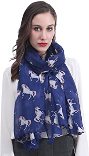 Lina & Lily Unicorn Horse Print Women's Scarf Shawl Lightweight