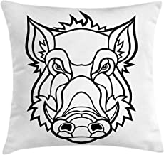 NBTJZT Razorback Throw Pillow Cushion Cover, Uncolored Outline Design Drawing of Wild Boar Pig Head Illustration,Pillowcase 18X18 Inch, Charcoal Grey and White