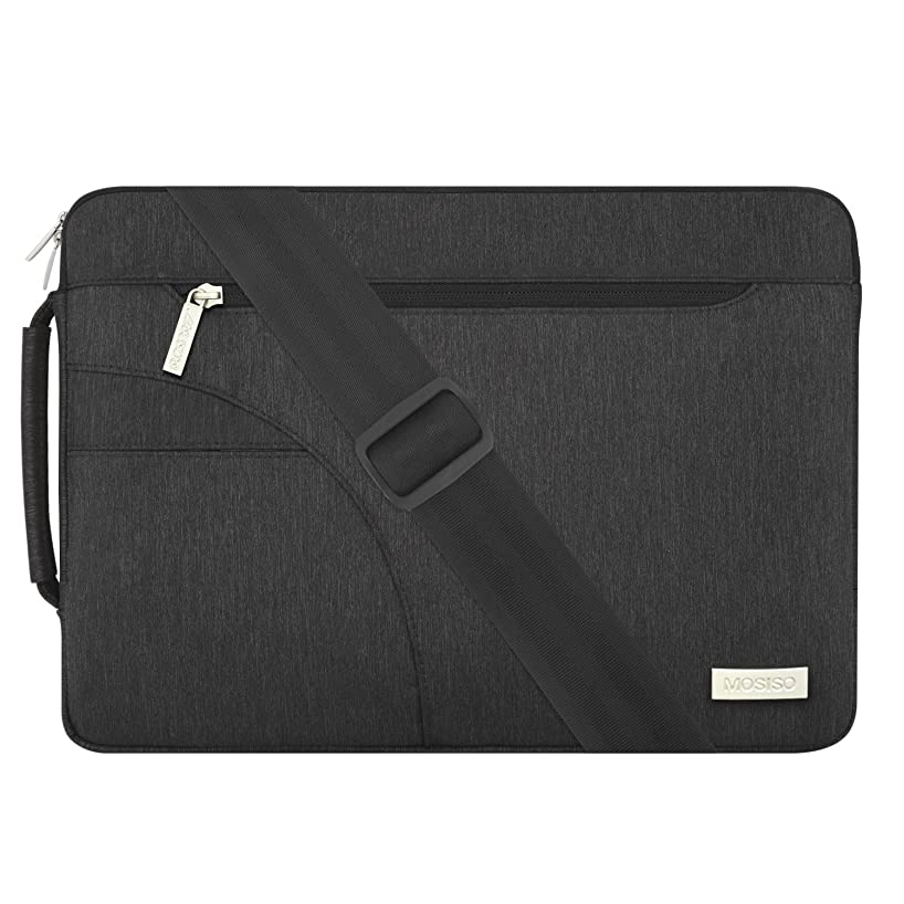 MOSISO Laptop Shoulder Bag Compatible 15 Inch New MacBook Pro with Touch Bar A1990 & A1707 2018 2017 2016, 14 Inch ThinkPad Chromebook, Polyester Briefcase Handbag Sleeve Case Cover, Black