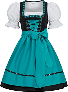Gaudi-Leathers Damen Dirndl Kleid Dirndlkleid Trachtenkleid Midi Ilona Schwarz