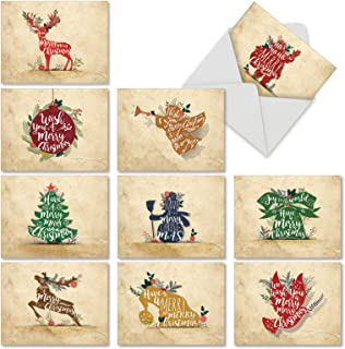 10 Assorted 'Holiday Knockout' Christmas Cards with Envelopes 4 x 5.12 inch, Blank Cards with Cutout Images and Festive Sayings, Stationery with Reindeer, Santa, Snowmen and Angels M6666XSB