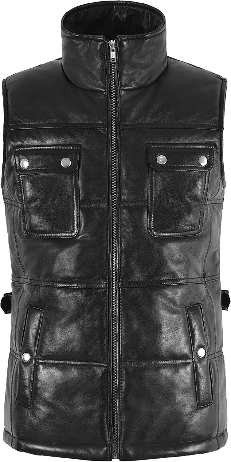 MISSY LADIES GILET Real Leather Quilted Vest Sleeveless Jacket Padded Waistcoat