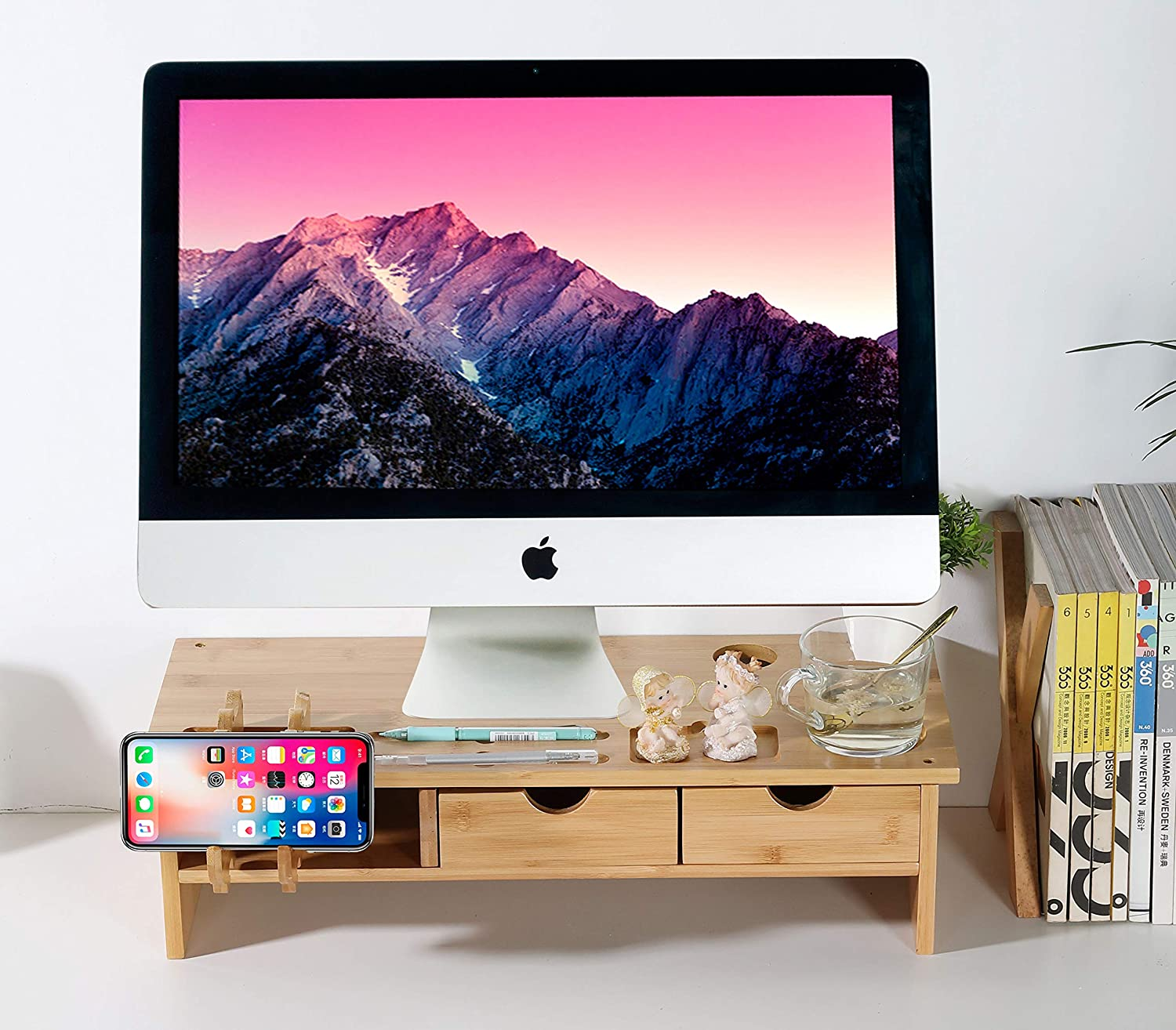 Monitor Stand Riser with Drawers-Solid Bamboo Riser Supports,Desk Organizer with Phone Holder Office Supplies Countertop Bookcase,TV PC Laptop Computer Stand with Cellphone Holder