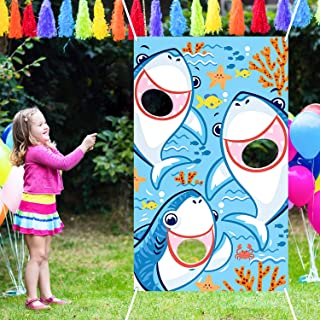 Bean Bag Toss Games with 3 Bean Bags Party Games Pack and Decoration for Baby Children Family Theme Party Favor Supplies (Blue Shark)