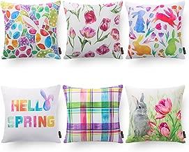 Phantoscpe Set of 6 Hello Spring Series Square Throw Pillow Case Cushion Cover 18 x 18 45 x 45 cm