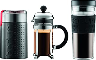 Bodum Chambord Set, French Press 3 Cup Coffee Maker, Electric Coffee Blade Grinder, 15 oz. Travel Mug, Black