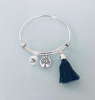 Bracelet jonc arbre de vie en acier inoxydable avec pompon vert foncé et une perle à parfumer, Bracelet Femme en acier ino...