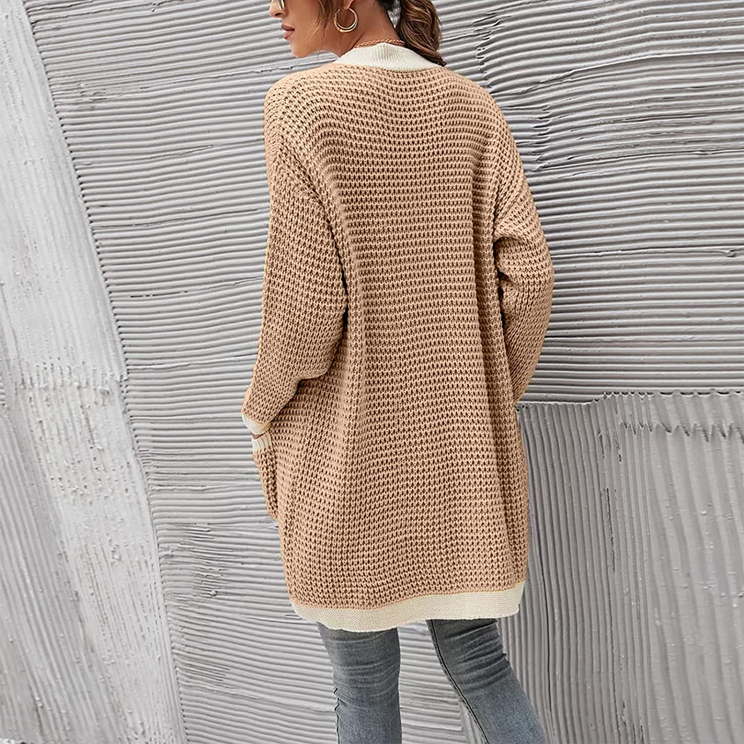 Women's Casual Button Hoodies Tunic Loose Plus Size Solid Color Sweatshirt Long Hoodie Jacket with Pockets Tops