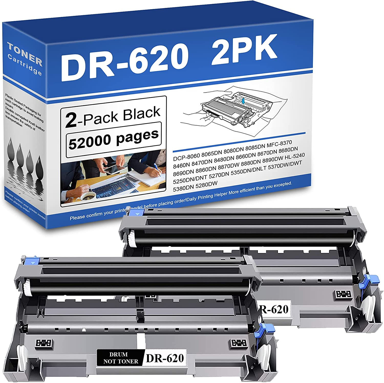 2 Pack DR-620 Drum Unit Compatible Brother DR620 HL-5240 5370DW/DWT 5380DN 5270DN 5350DN DCP-8060 MFC-8480DN Printer Toner.