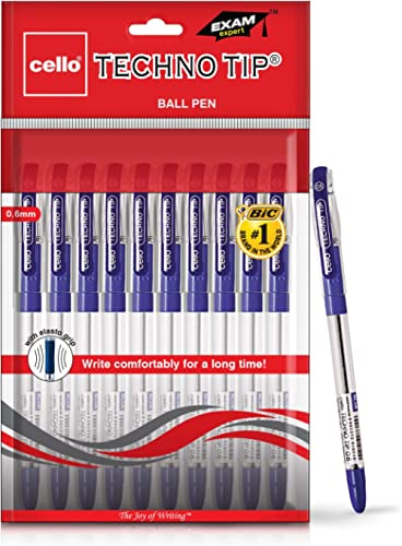 Cello Technotip Ball Pen Set (Pack of 10 pens - Blue) | Lightweight ball pens for pressure free & fine writing | Exam...