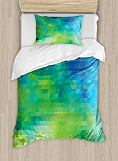 Ambesonne Green and Blue Duvet Cover Set, Geometric Abstract Pattern with Triangles Ombre Inspired, Decorative 2 Piece Bed...