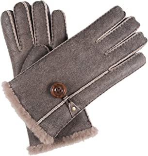 Women's Merino Rugged Lambskin Shearling Leather Gloves Button Decorated