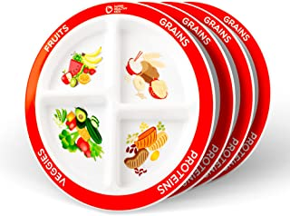 MyPlate Divided Kids Portion Plate, 4 Pack, four Fun & Balanced Sections for Picky Eaters