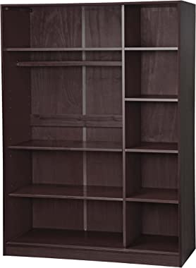 Palace Imports 100% Solid Wood Wardrobe with 3 Sliding Louvered Doors, Java. 5 Shelves Included. Additional Large Shelves Sol