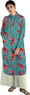 RADANYA Women's Pure Cotton Printed Tunic Top Full Sleeves Chinese Neck Side Pocket Long Kurti Kurta