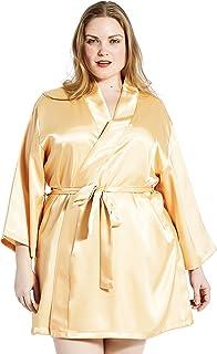 4b2c2dbaff Jovannie Women s Satin 3 4 Sleeve Plus Size Kimono Robe With Matching Sash  Short Length