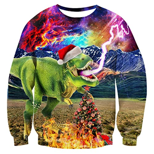 b3a07f1cce Uideazone Unisex Funny Ugly Christmas Sweater 3D Printed Crew Neck Pullover  Sweatshirts for Xmas Party