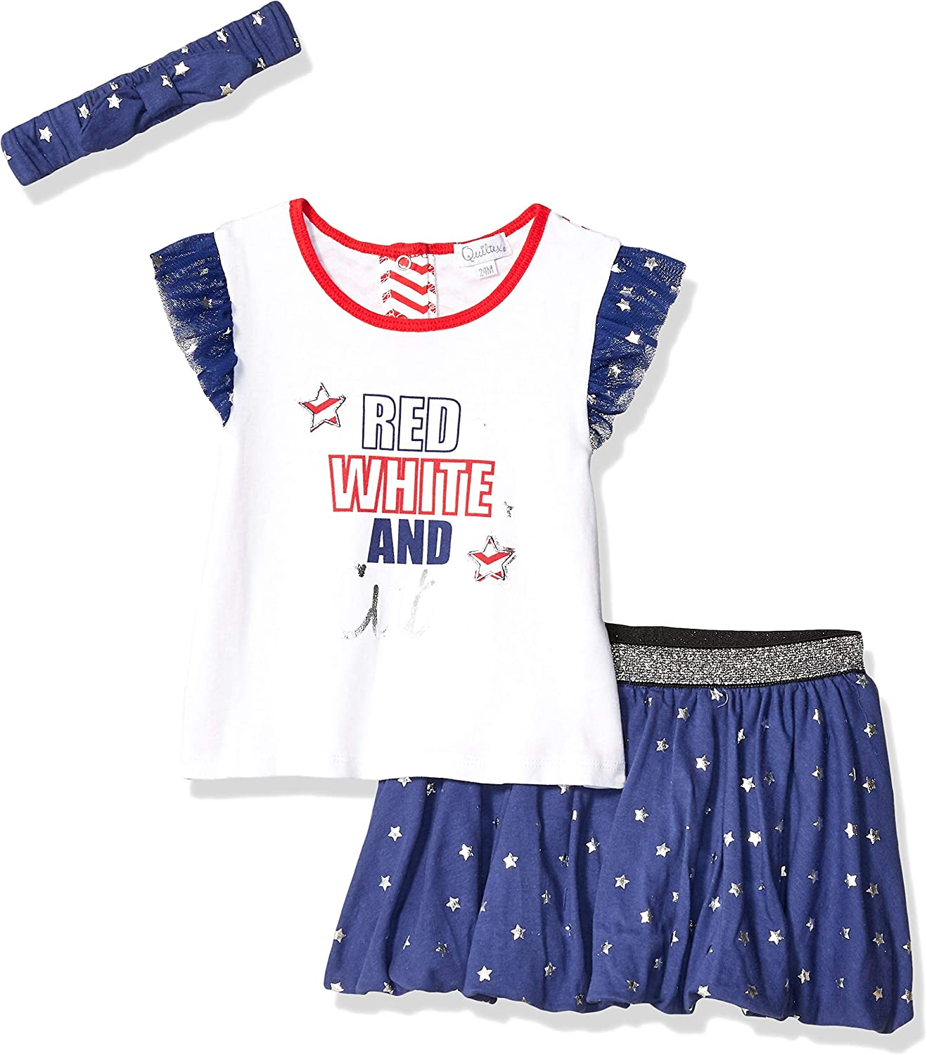 Quiltex Girls' Toddler QIG93868, RED White and Cute, 24M