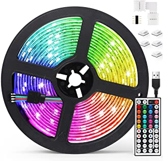 AGPTEK 5M LED Strip Lights RGB 5050 Colorful Lights with Remote Control 20 Colors 8 Brightness Modes Decorative LED Tape L...