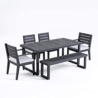 Great Deal Furniture Kemp Outdoor 6-Seater Acacia Wood Dining Set with Bench, Sandblast Dark Gray and Light Gray