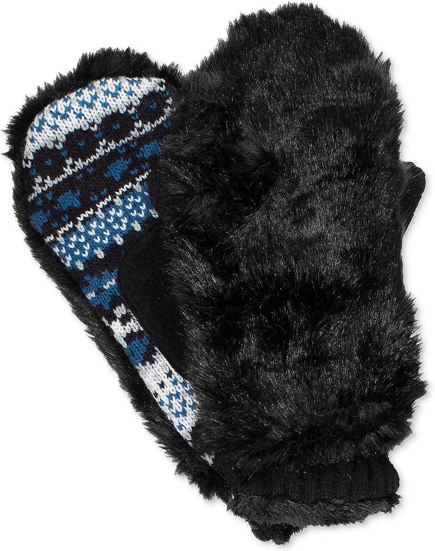 Isotoner Signature Women's Faux-Fur & Fair Isle Mittens Black